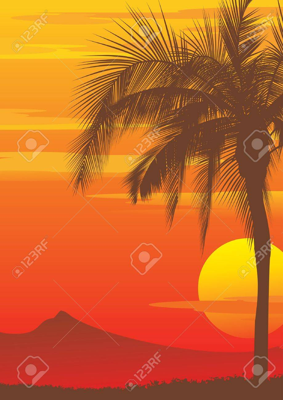 Palm tree at sunset, vector Stock Vector - 15984449