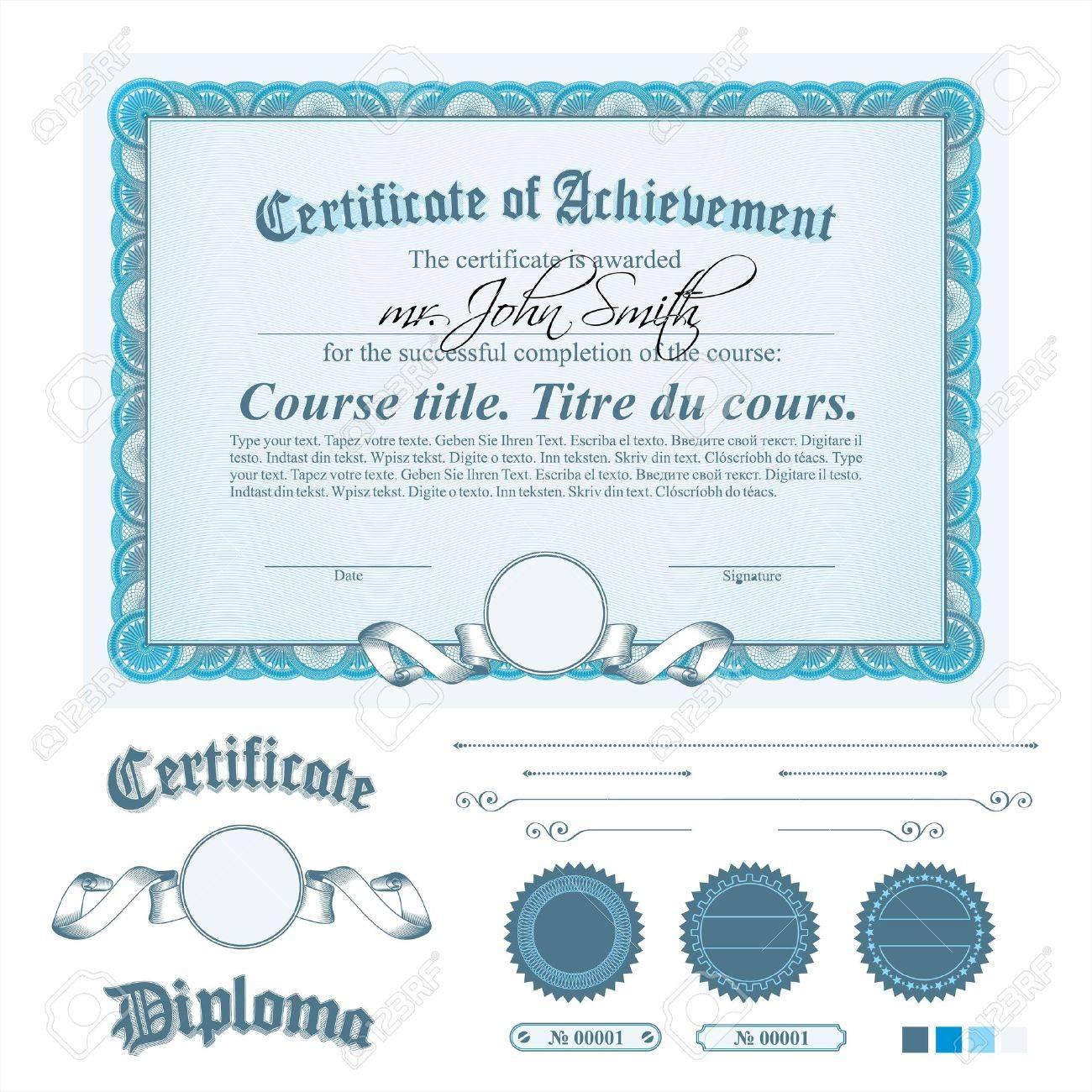 Plantilla De Certificado Azul. Horizontal. Otros Elementos Del ...