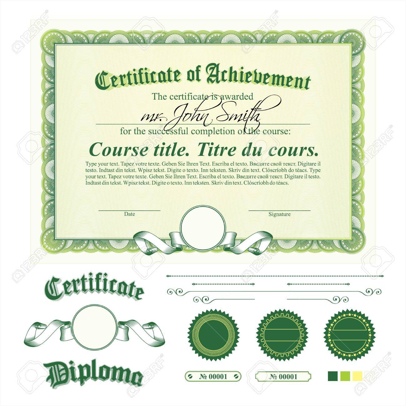 Green certificate template. Horizontal. Additional design elements. Stock Vector - 18052360