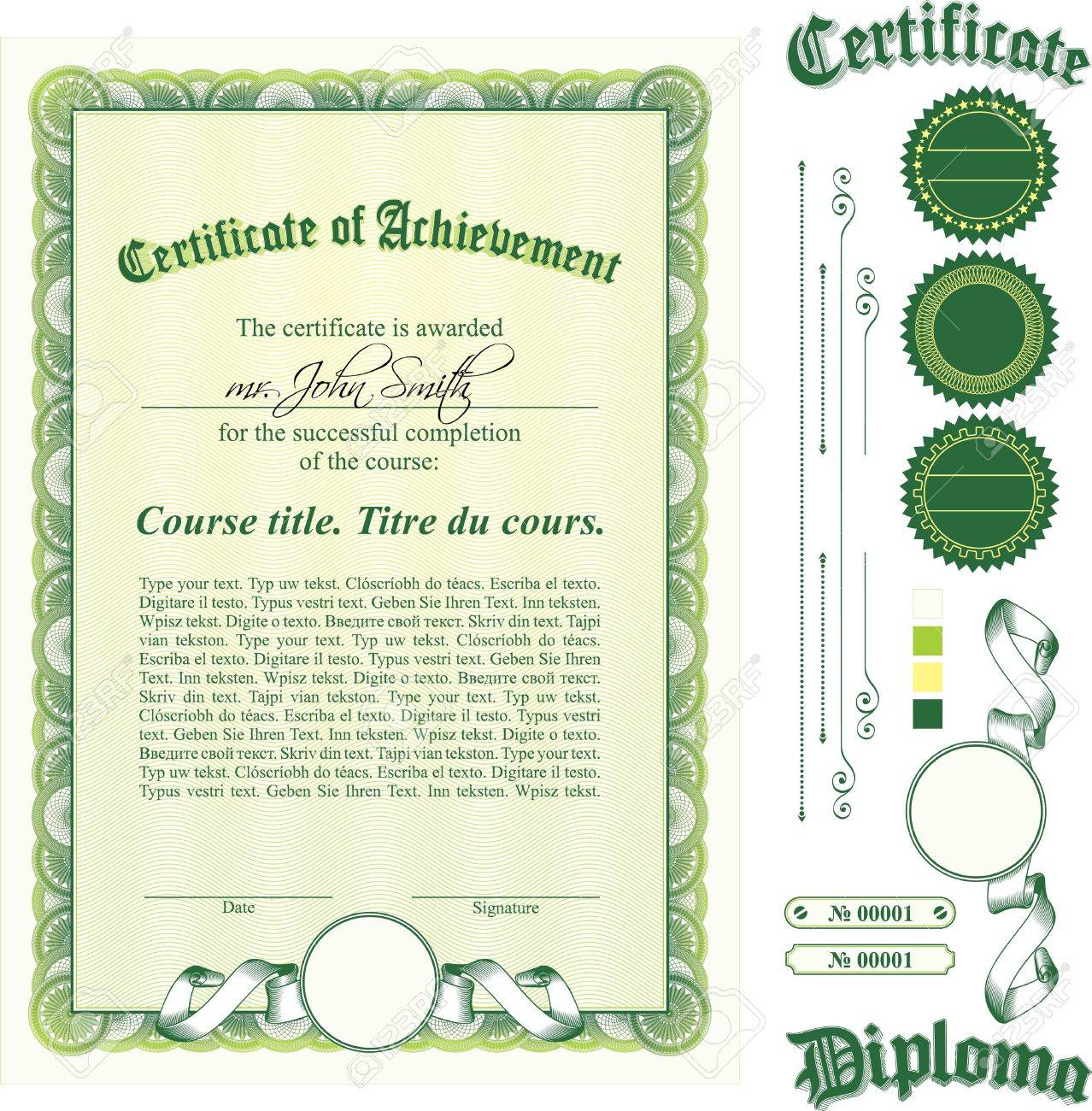 Green Certificate Template Vertical Additional Design Elements – Blank Stock Certificate Template