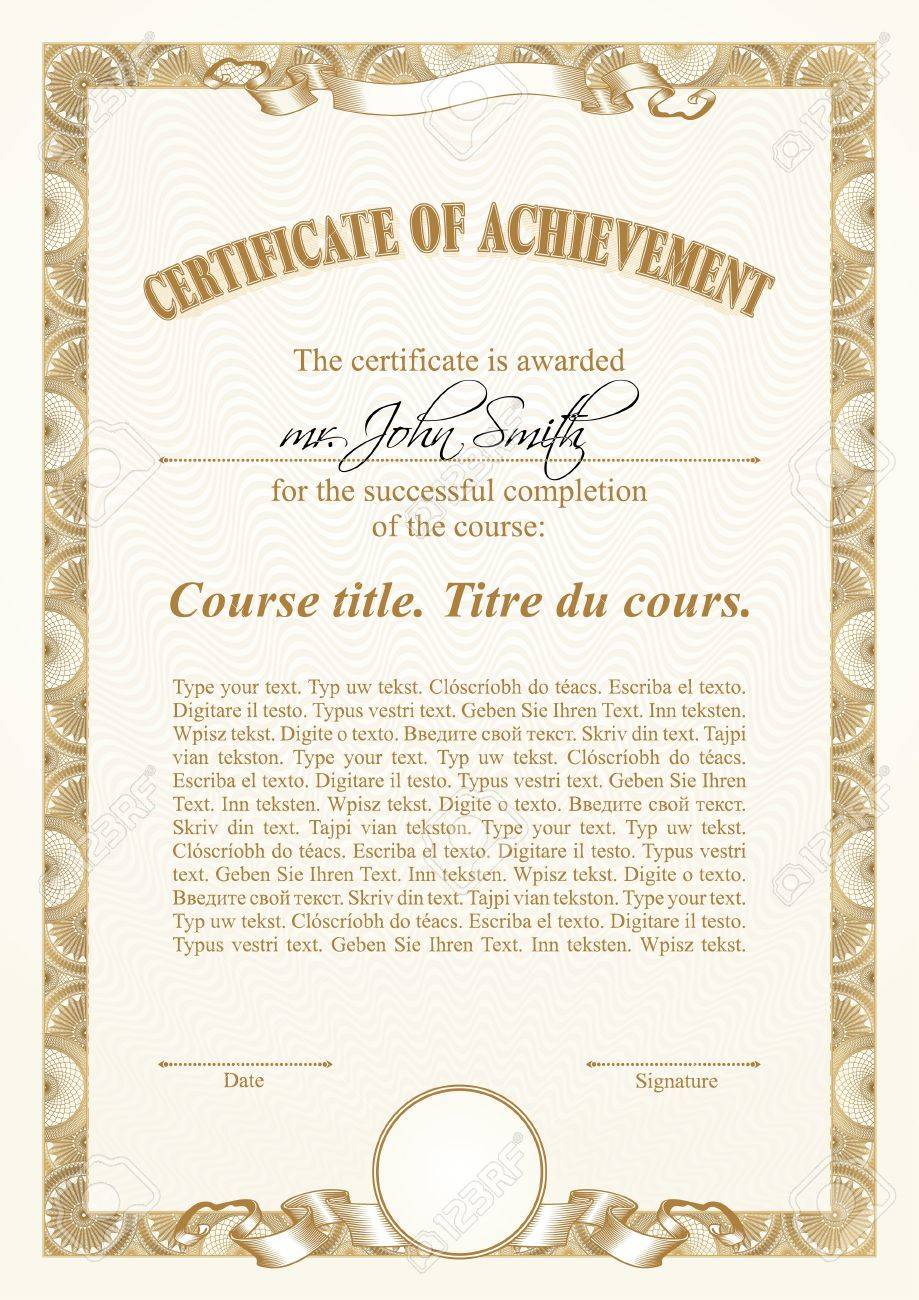 Gold Certificate Template. Vertical. Royalty Free Cliparts, Vectors ...