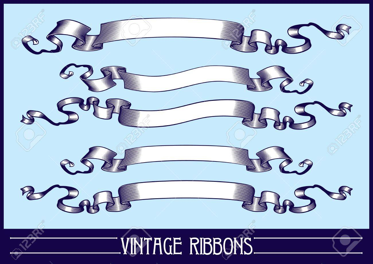 Vintage ribbons set. Vector. Stock Vector - 18221255