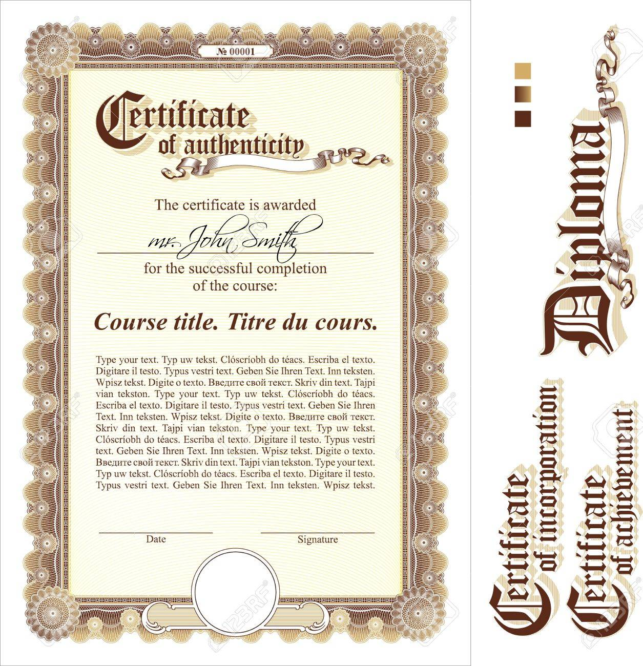 Brown & Gold Certificate Template. Vertical. Additional Design ...