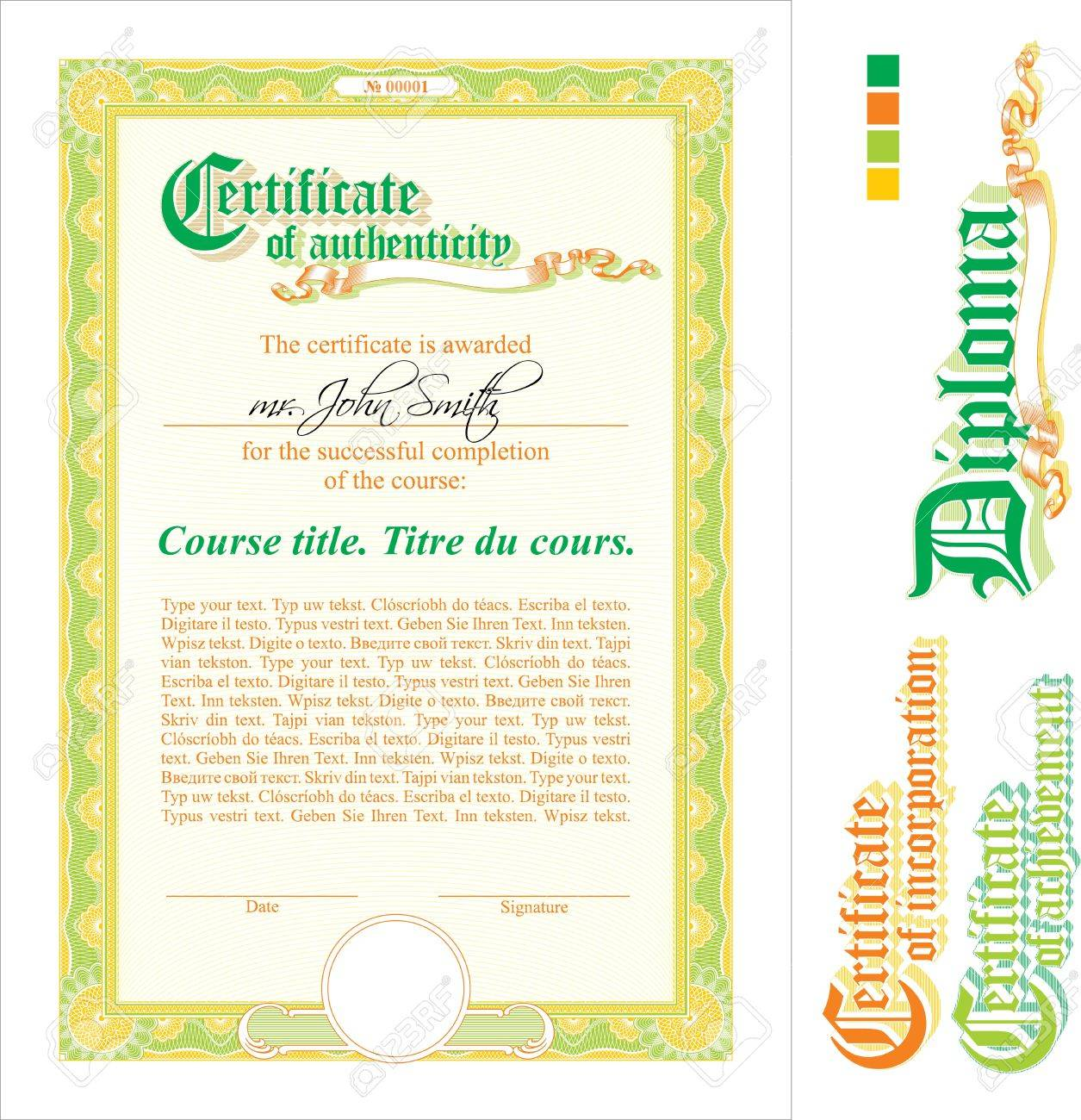 Green orange certificate template vertical additional design green orange certificate template vertical additional design elements stock vector 19839802 yelopaper Images