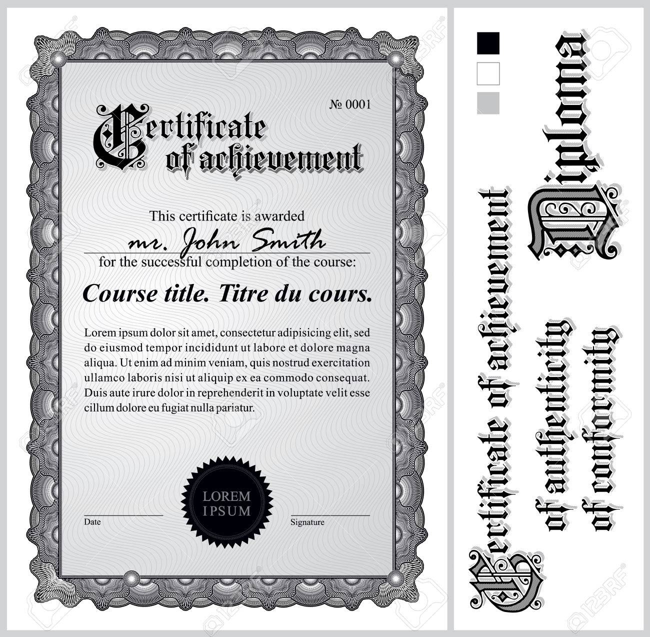 Schwarz-Weiß-Zertifikat Vorlage Vertikale Weitere Design-Elemente ...
