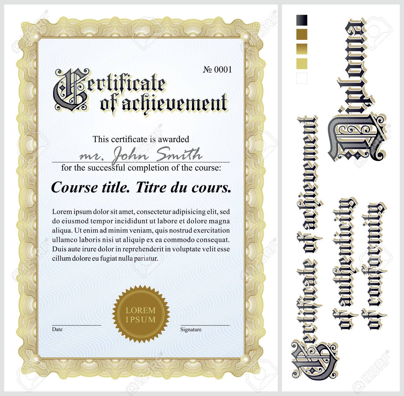 Gold Certificate Template Vertical Additional Design Elements ...