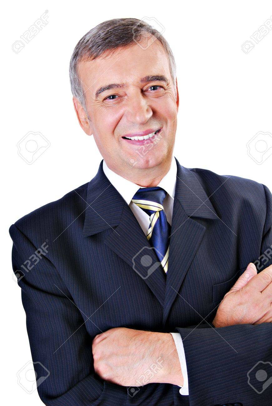 Cheerful face of successful senior adult businessman isolated on white. Stock Photo - 3704235