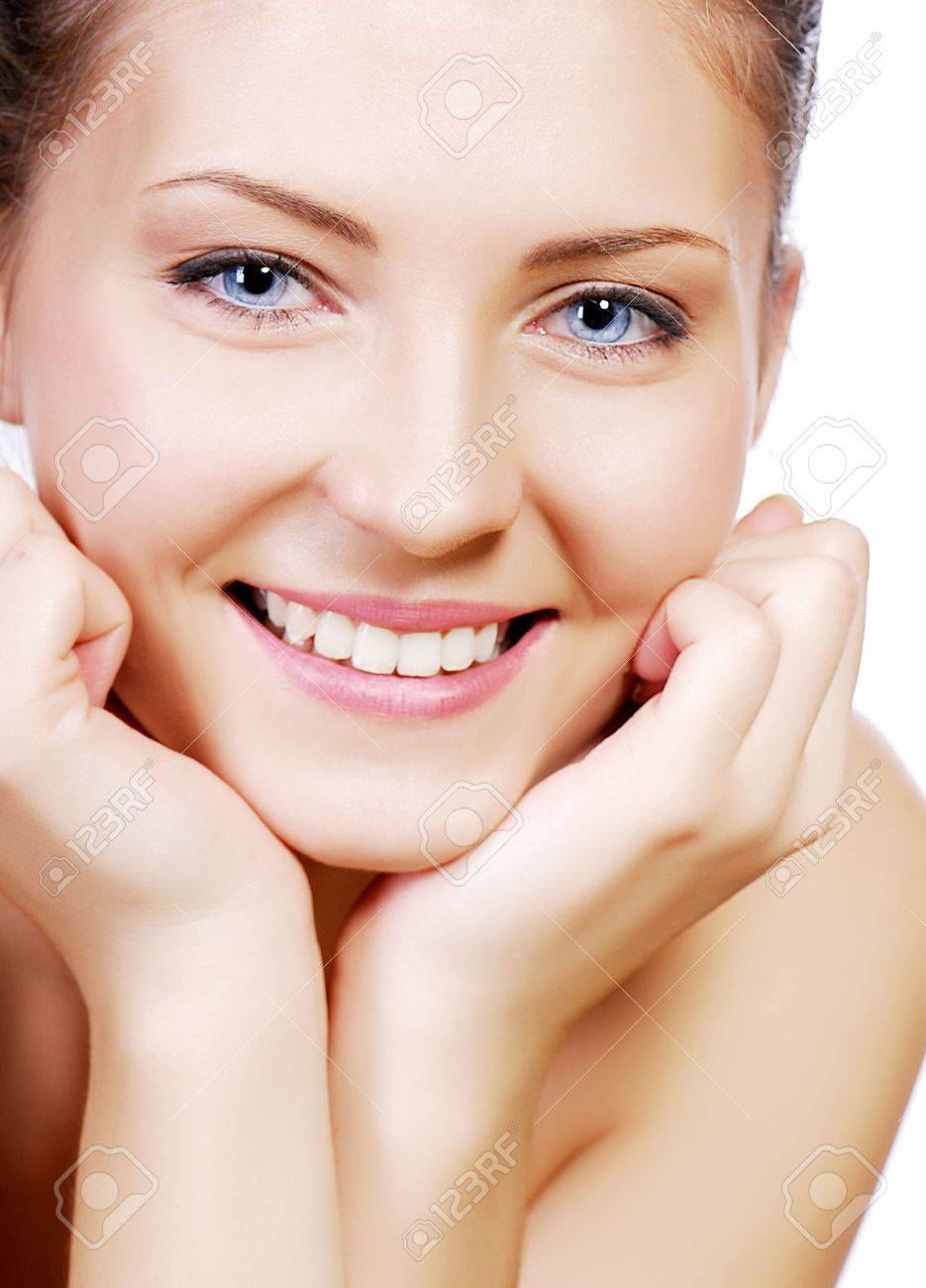 Beautiful smiling young adult teen face with hand at face Stock Photo - 3704531