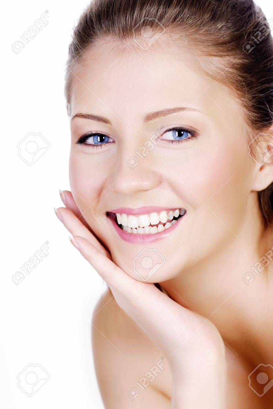Fresh smiling woman face with hand at cheek Stock Photo - 3706688