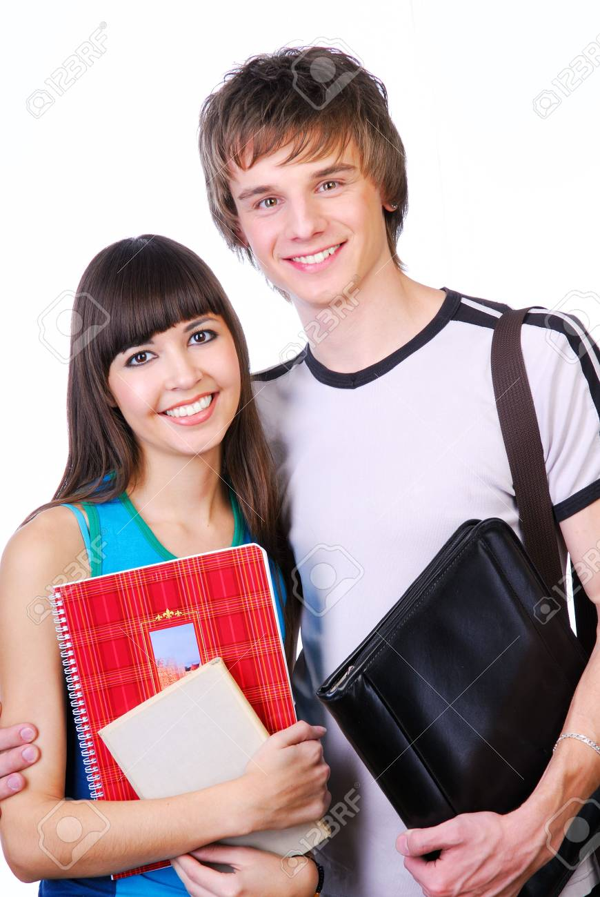 Portrait of two cute happy teenagers  isoalted on white Stock Photo - 3918085