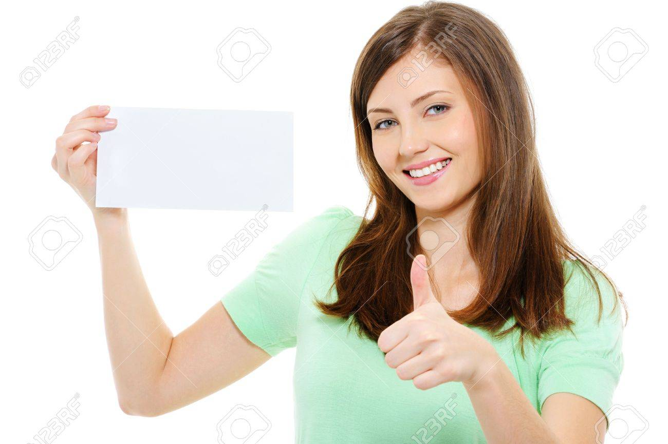 Young beauty woman hold blank card and showing thumbs-up over white background Stock Photo - 5769501
