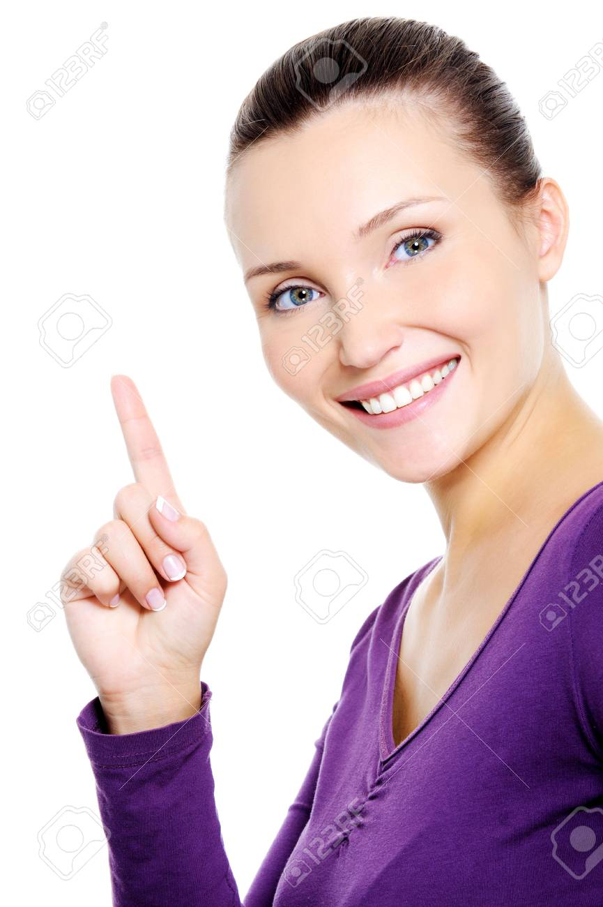 Portrait of young happys miling woman showing index finger - isolated Stock Photo - 5790025