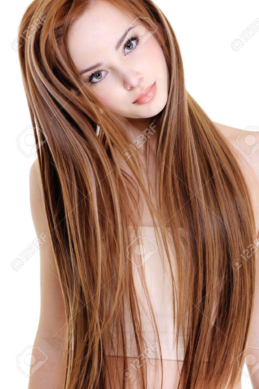 portrait of the beautiful young woman with beauty long straight hairs Stock Photo - 5984579