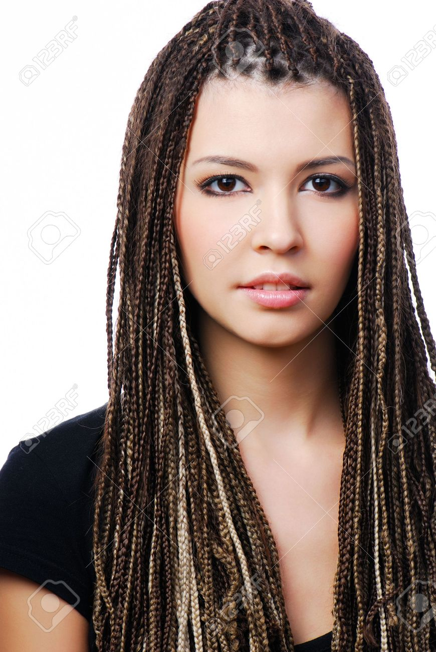 Portrait of young pretty woman with dreadlocks - on white Stock Photo - 6471268