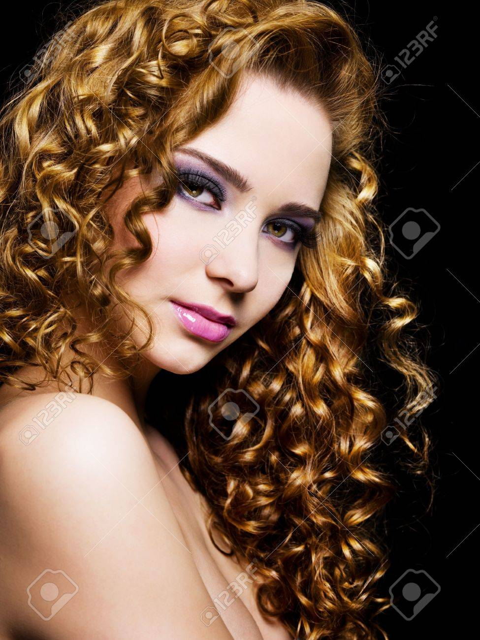 Portrait of a pretty adult girl with  long  hairs - On a black background Stock Photo - 6870008