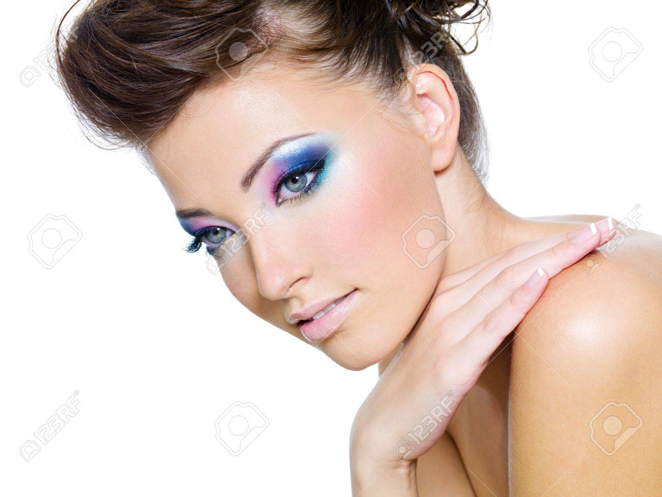 Beautiful woman face with Glamour colors of eye-make-up Stock Photo - 7418029