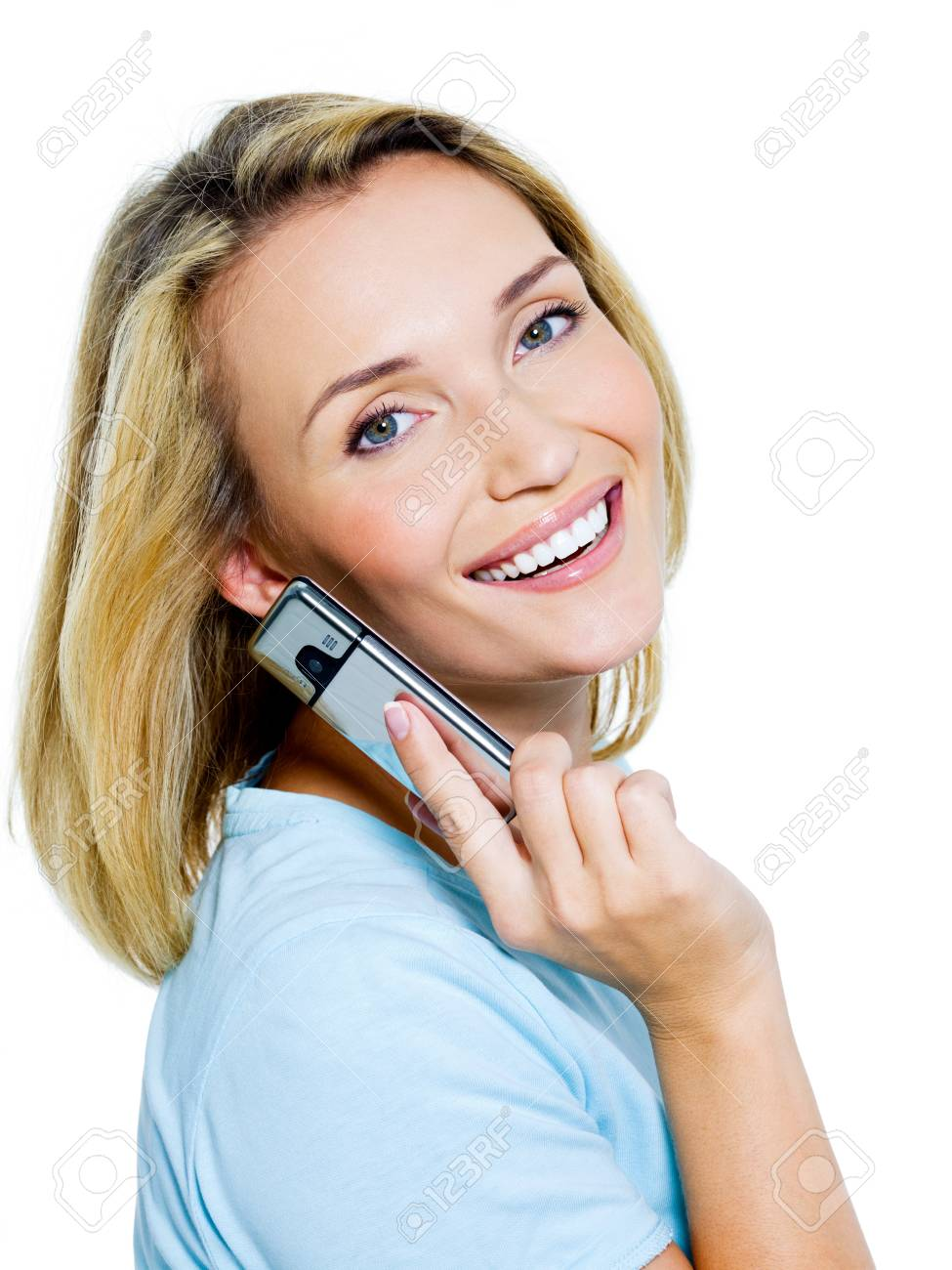 successful woman call in the phone on white background Stock Photo - 7953528