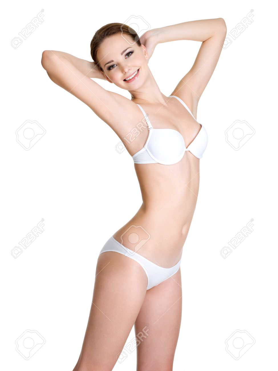 Happy Young Woman With Beautiful Female Body In White