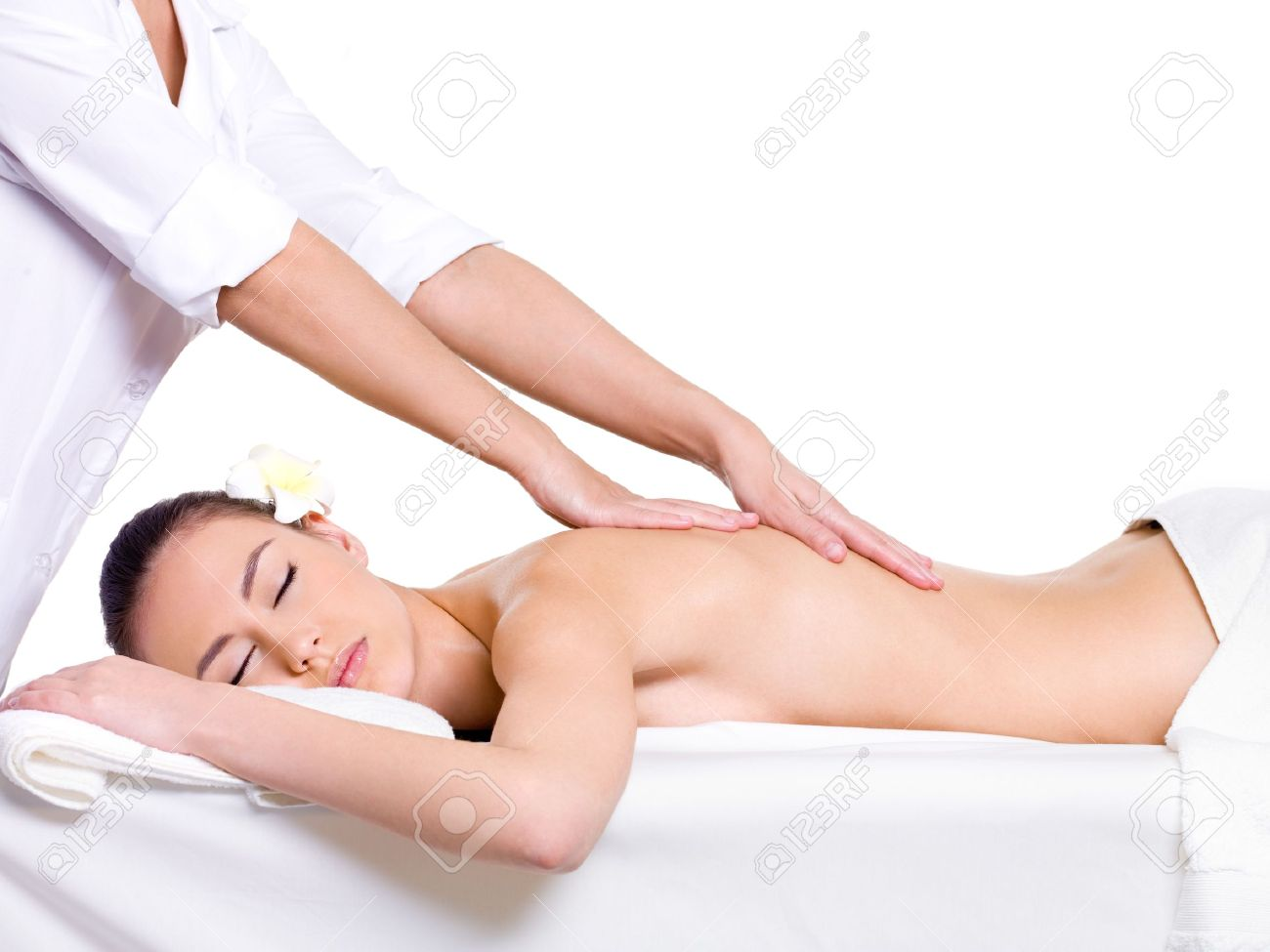 Spa massage for beautiful pretty woman - isolated on white background - Beauty treatment therapy Stock Photo - 9195359