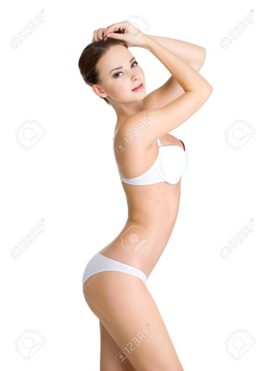 Beautiful female body in white underwear isolated on white background Stock Photo - 11038776