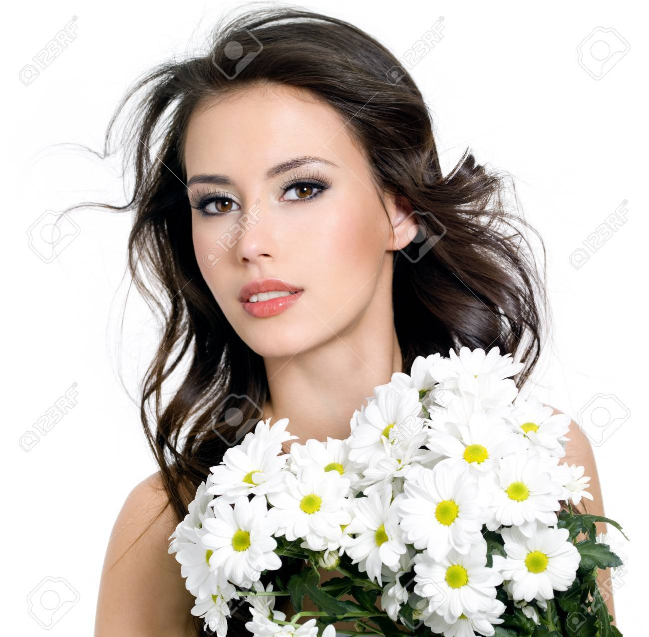 Sensuality beautiful girl with spring bouquet of  flowers - white background Stock Photo - 11266793