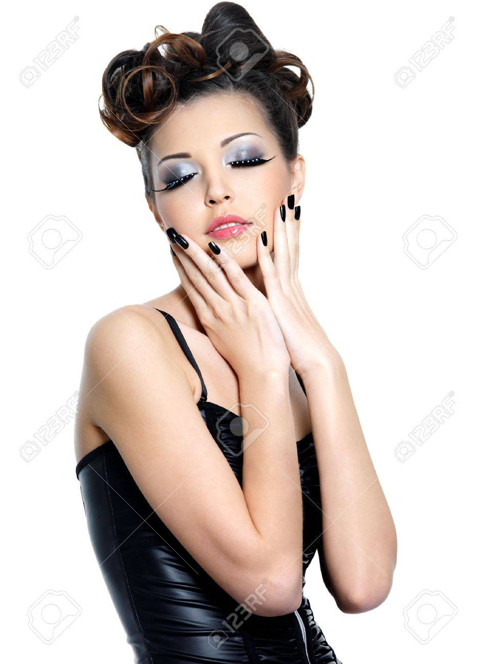 Young woman with fashion make-up and manicure - isolated on white Stock Photo - 11266794