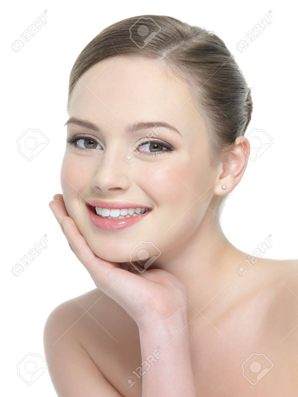 Beautiful portrait of smiling woman with healthy skin - isolated on white Stock Photo - 12348914