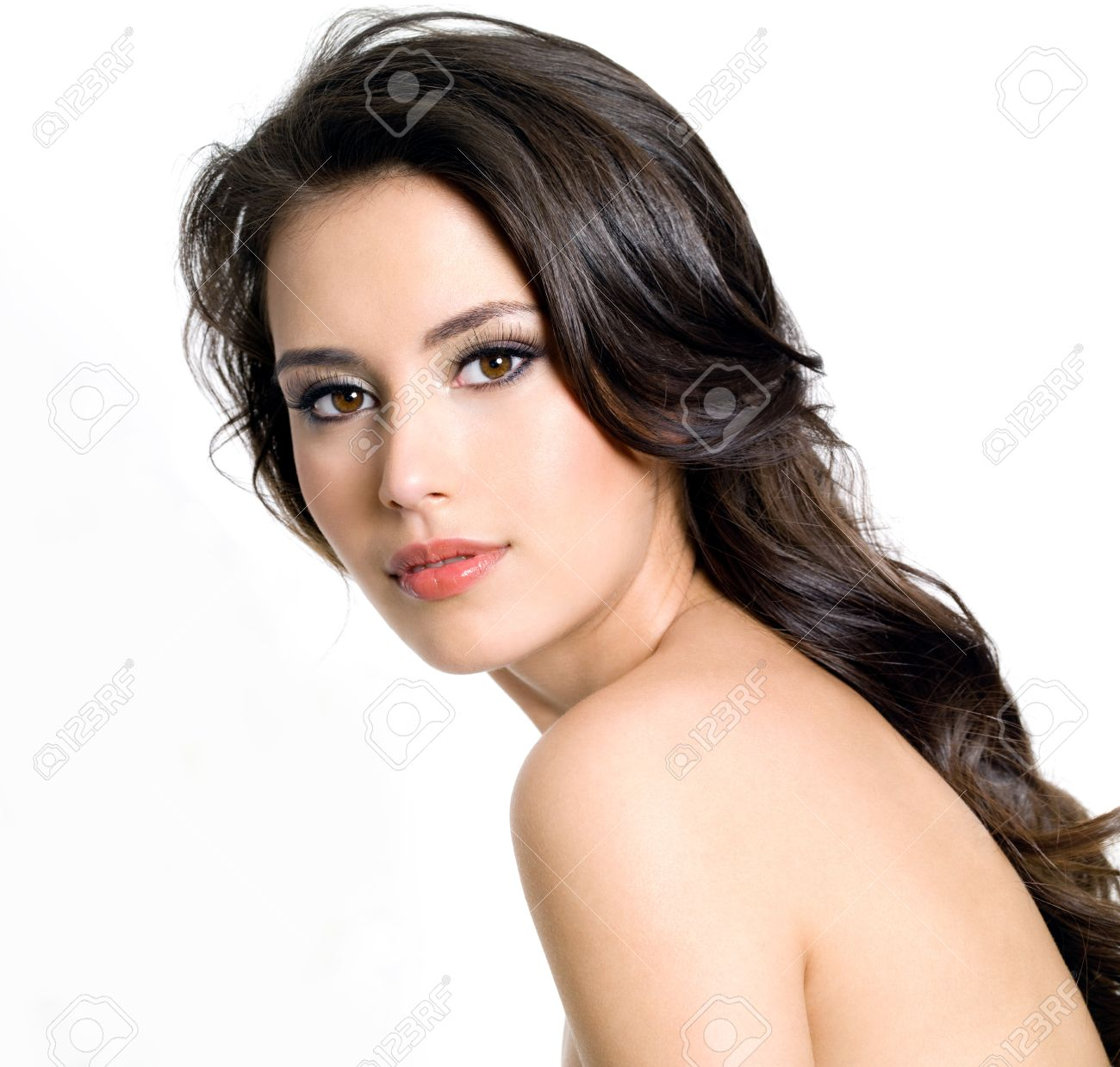 Portrait of beautiful  brunette young sexy woman on white background Stock Photo - 12349829