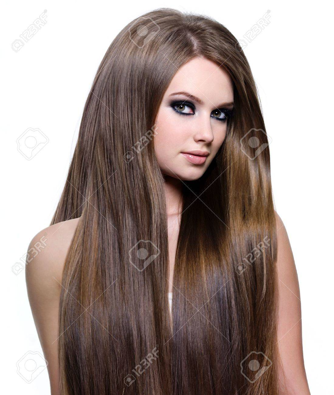 Woman with beautiful healthy  long straight hair - isolated on white background Stock Photo - 13603451