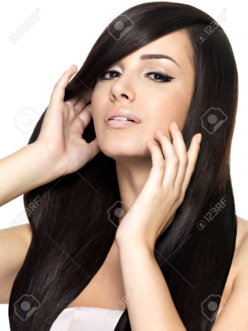Woman with beauty long straight hair. Pretty young girl with beautiful hairstyle. Creative studio image. Stock Photo - 16105105