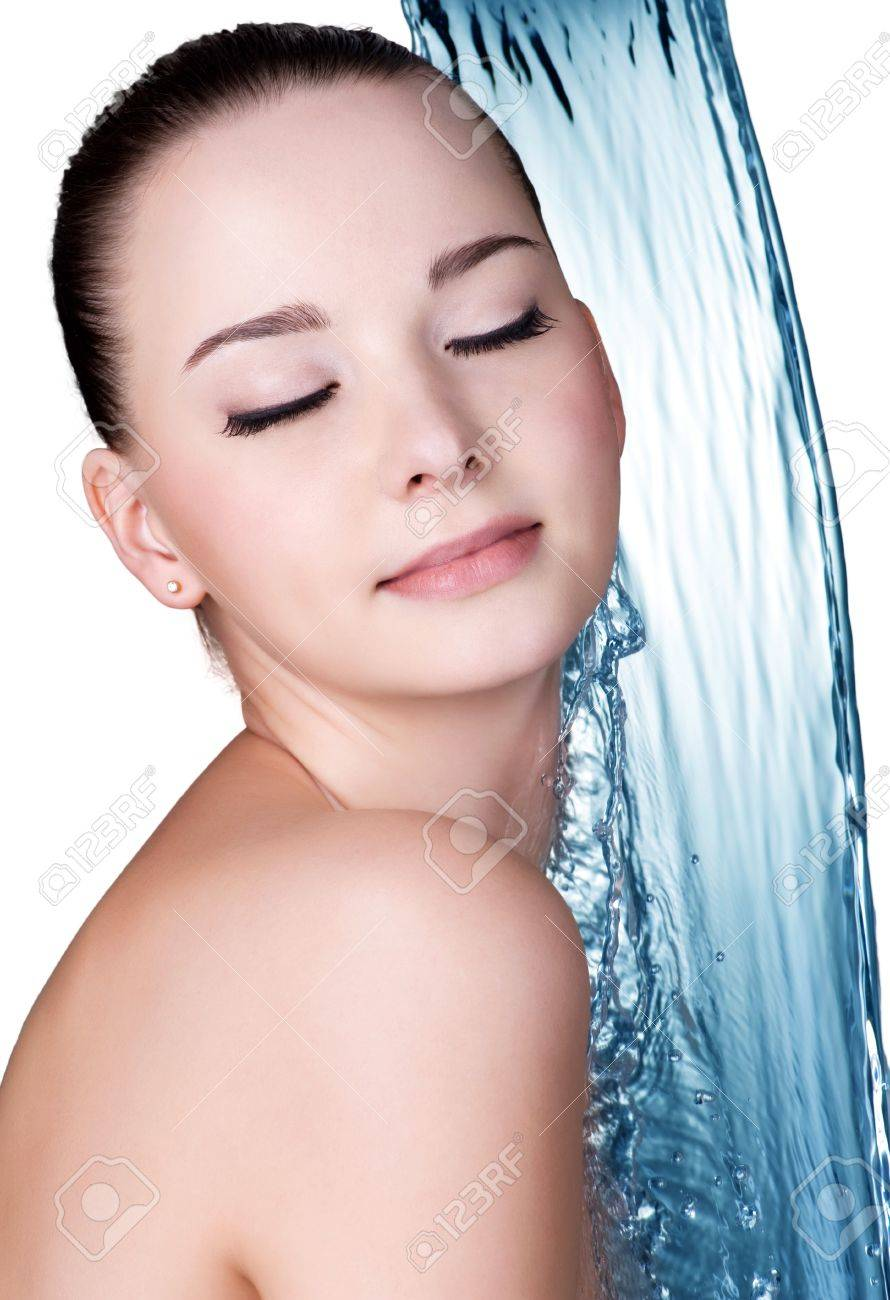 Beauty treatment concept of woman with blue water. Isolated on white backgrond Stock Photo - 16300960