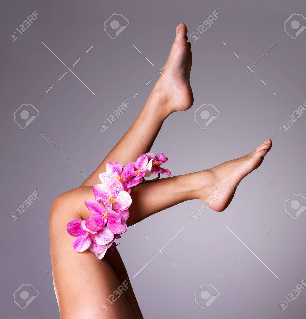 Beautiful long female legs with flower. Beauty treatment concept Stock Photo - 16410646