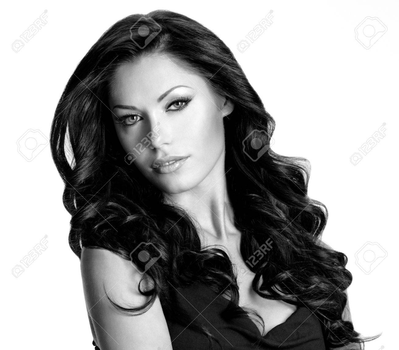 Woman with beauty long brown hair. Black or white image Stock Photo - 16608247