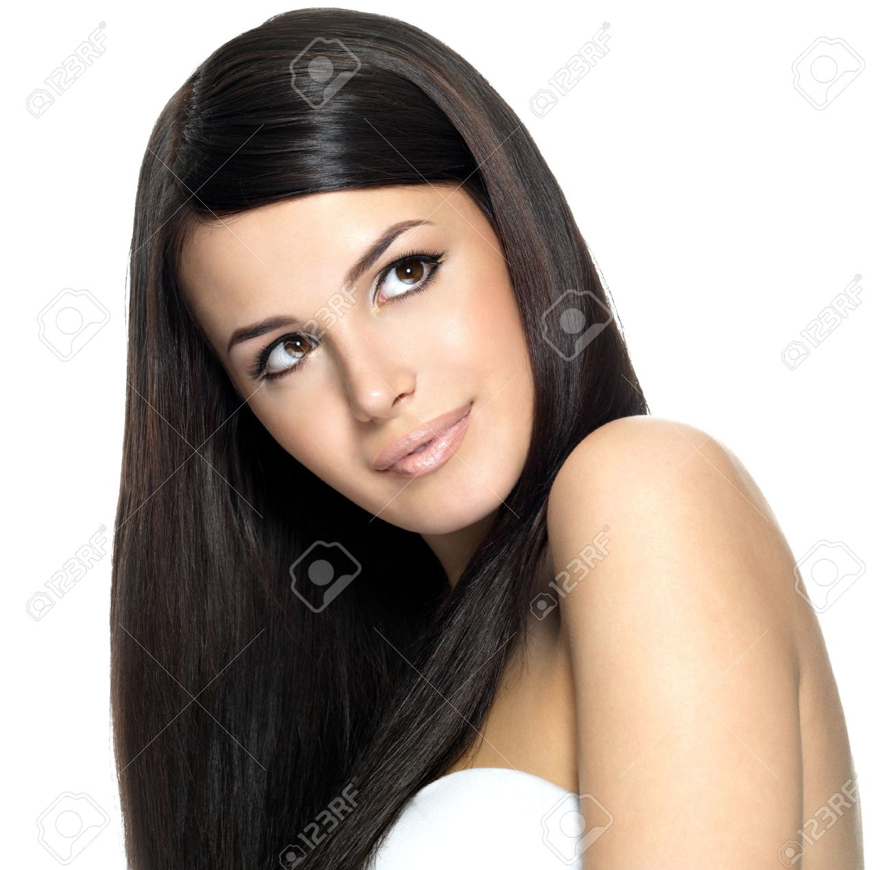 Woman with long straight hair. Fashion model looking up Stock Photo - 16732160