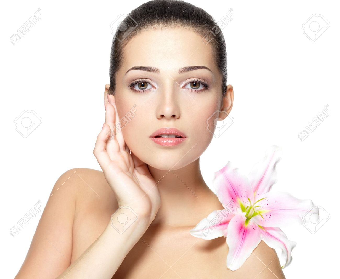 Beauty face of young woman with flower beauty treatment concept beauty face of young woman with flower beauty treatment concept portrait over white background izmirmasajfo Image collections