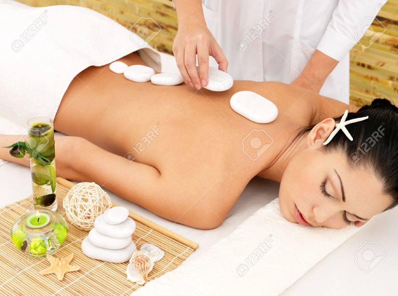 Woman having hot stone spa  massage of back in beauty salon Stock Photo - 17853377