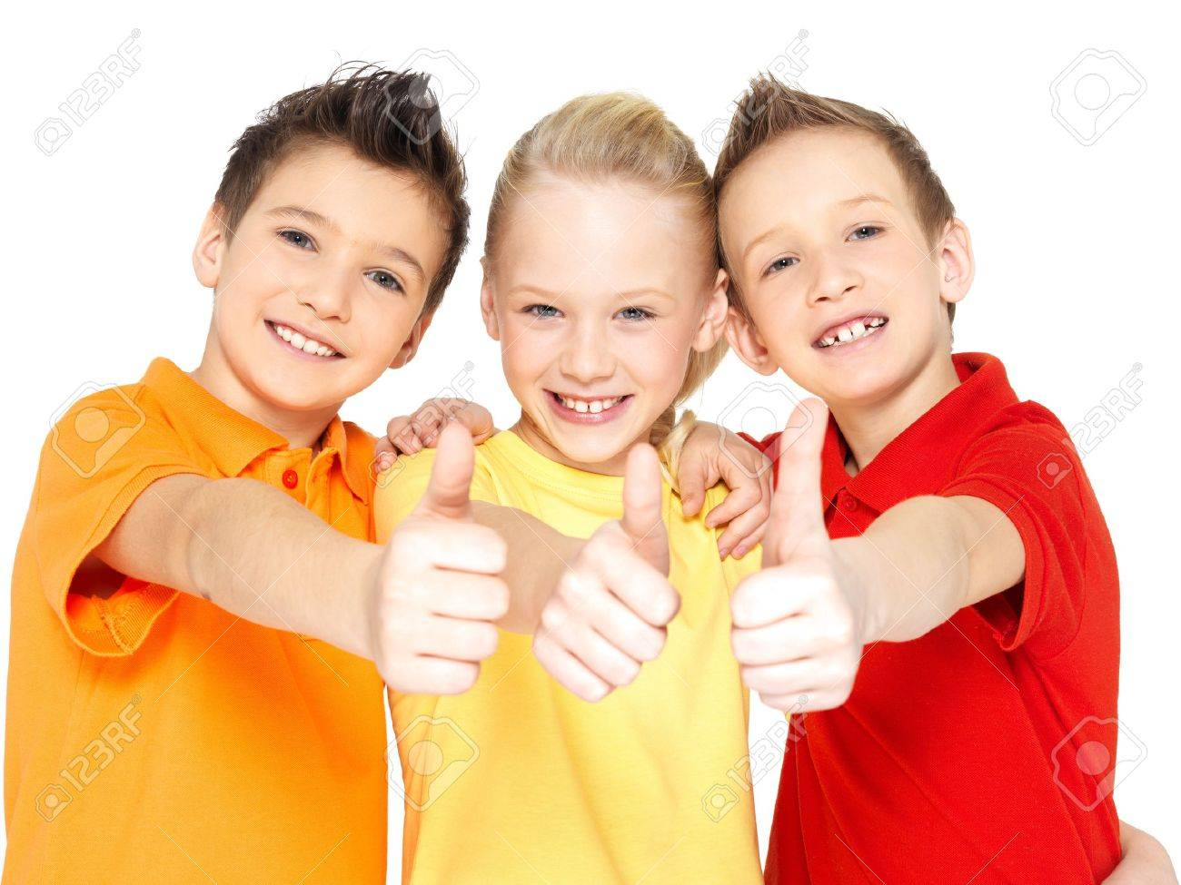 Portrait of the happy children with thumbs up gesture  isolated on white. Stock Photo - 17853726