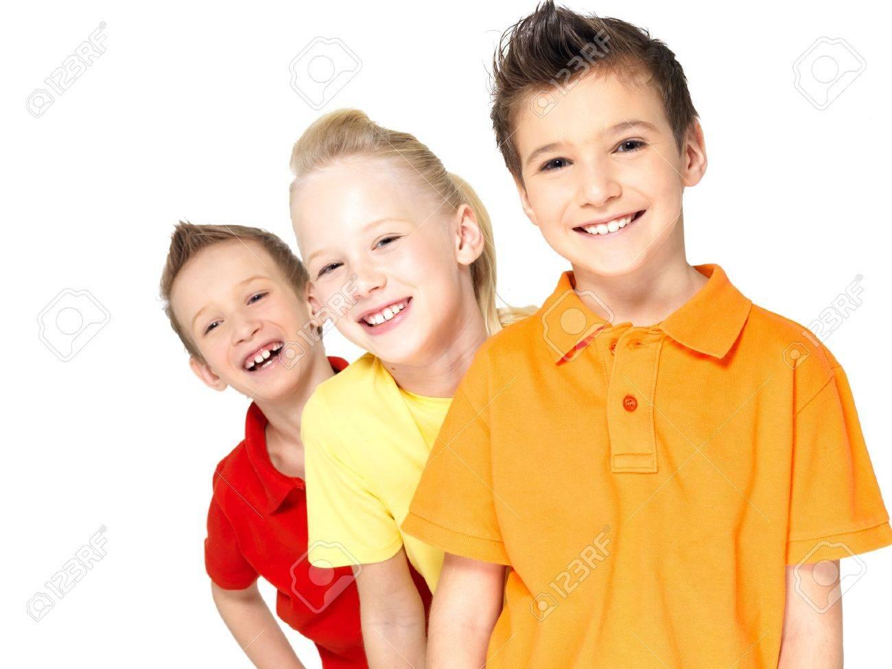 Portrait Of The Happy Children Isolated On White. Schoolchild ...