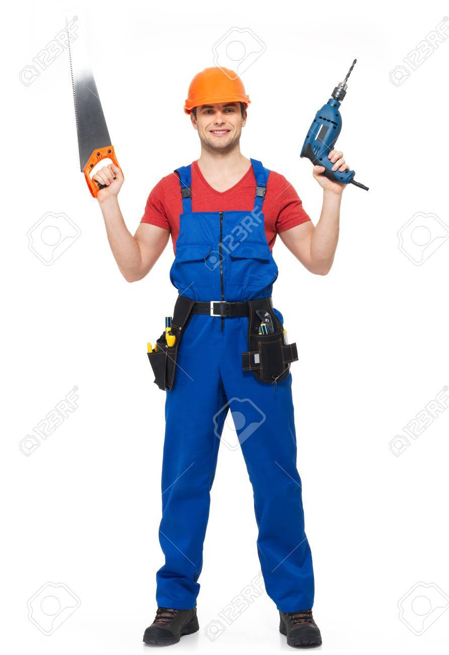 Handyman with tools full portrait over white background Stock Photo - 18628994