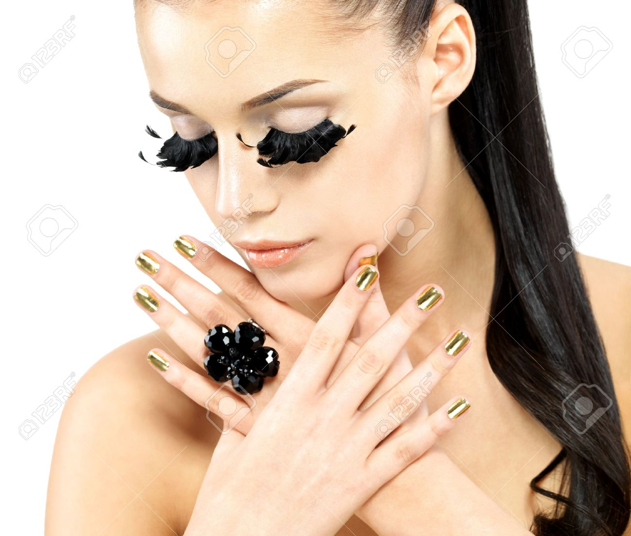 Closeup Portrait Of The Beautiful Woman With Long Black False ...