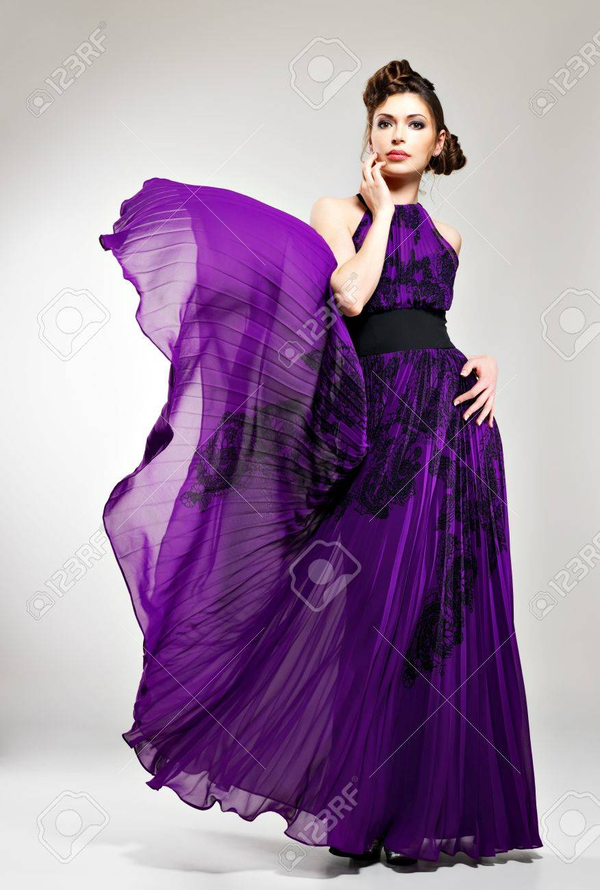 Beautiful Fashion Woman In Violet Long Dress Hairstyle With Stock Photo Picture And Royalty Free Image Image 19339871