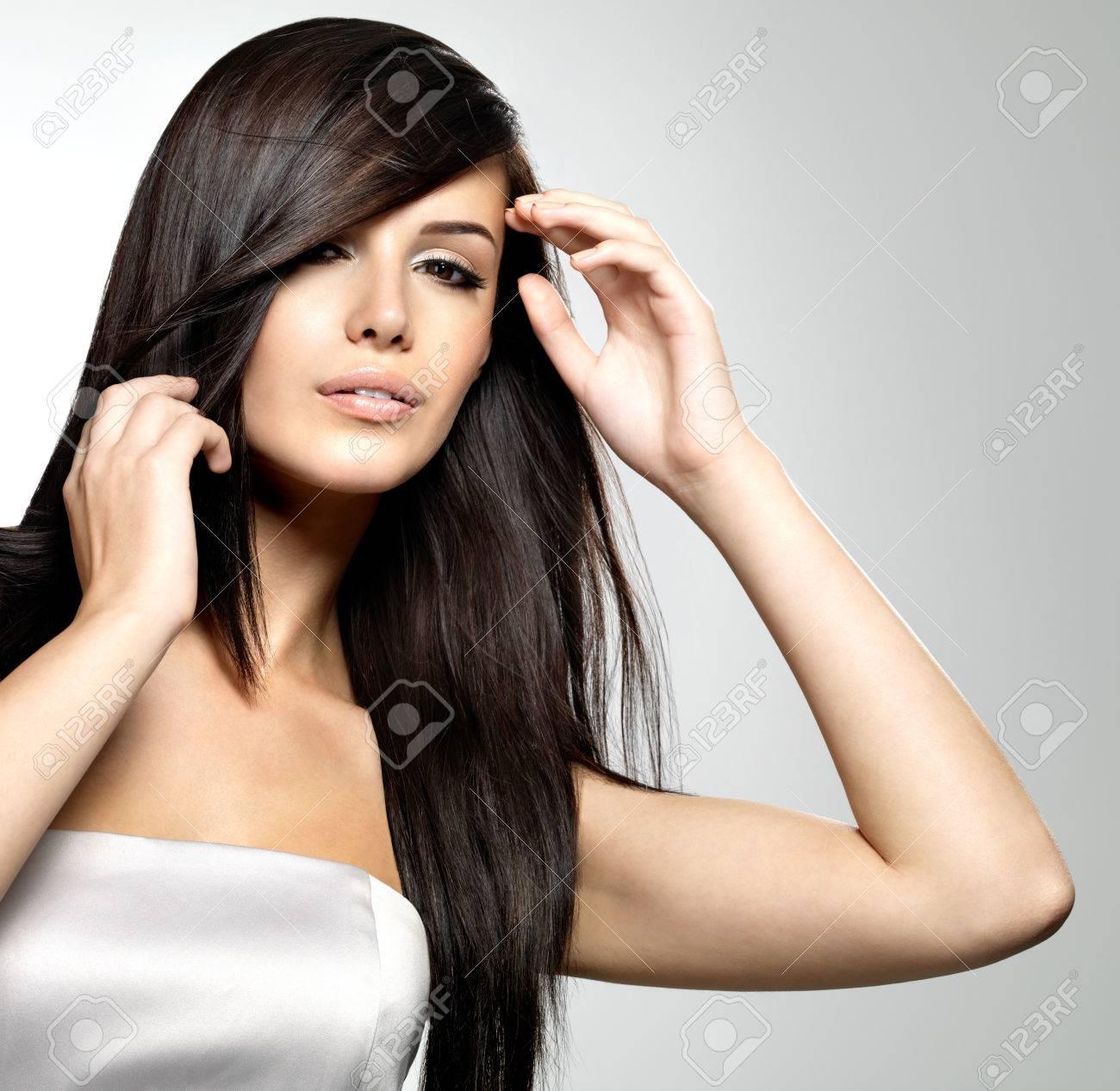 Frau Mit Schönheit Lange Glatte Haare Hübsche Junge Mädchen Mit