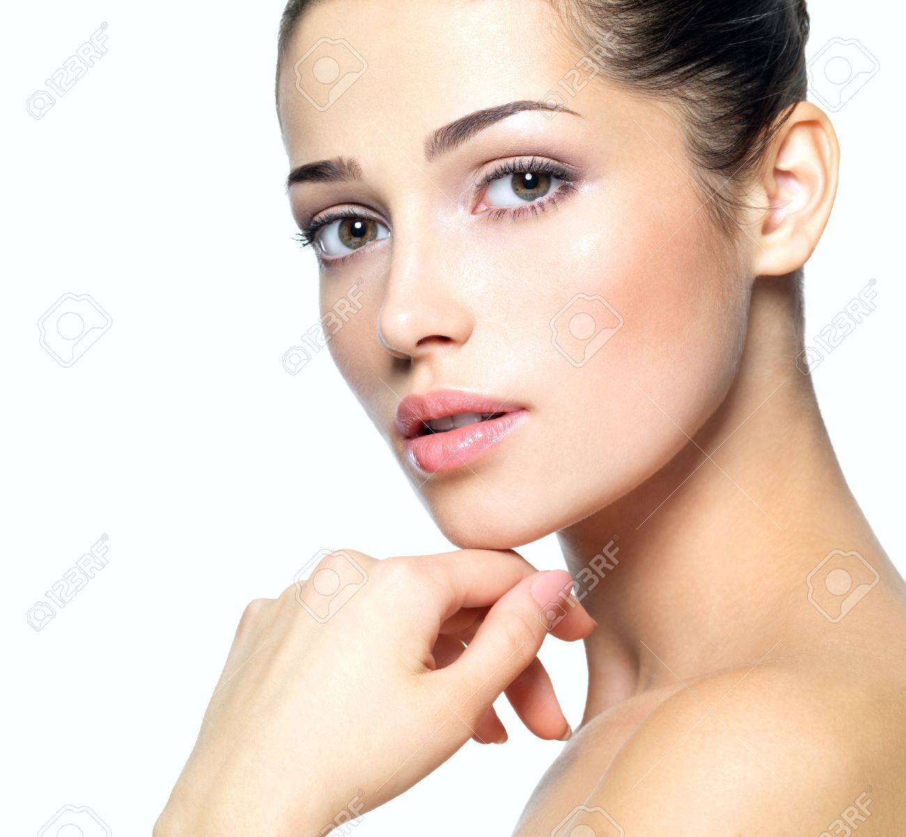 Beauty face of young woman. Skin care concept. Closeup portrait isolated on white. Stock Photo - 22359246
