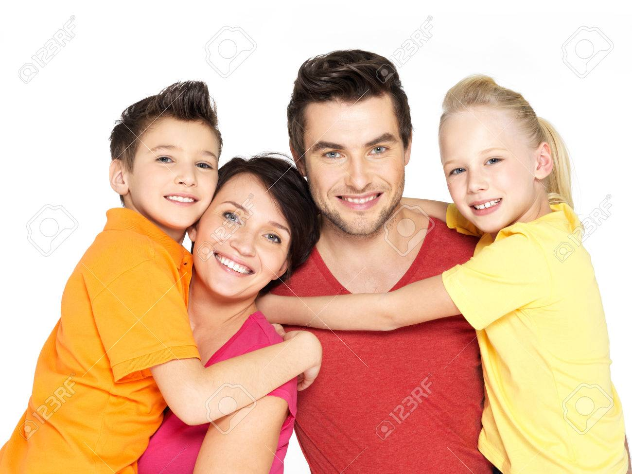 Photo of the happy young family with two children isolated on white background Stock Photo - 23190312