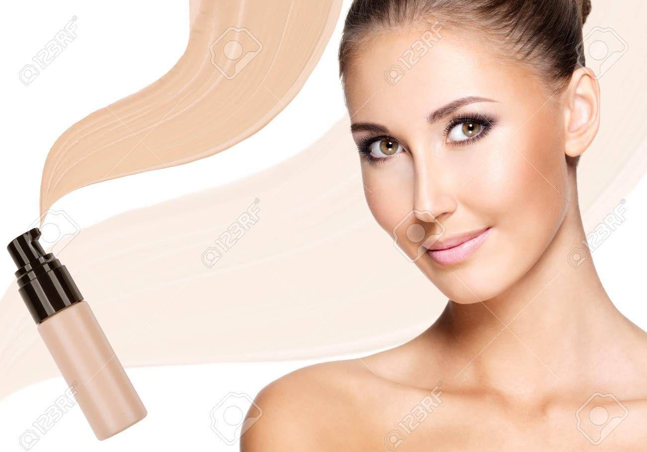Model face of beautiful woman with foundation on skin make-up cosmetics . Stock Photo - 23271813