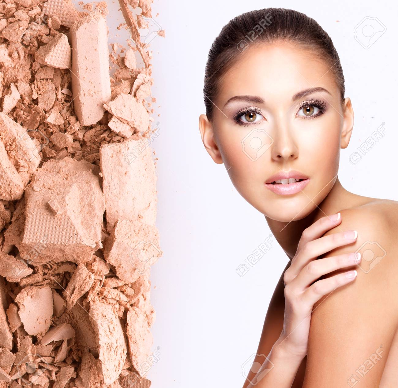 Model face of beautiful woman with foundation on skin make-up cosmetics . Stock Photo - 23271814