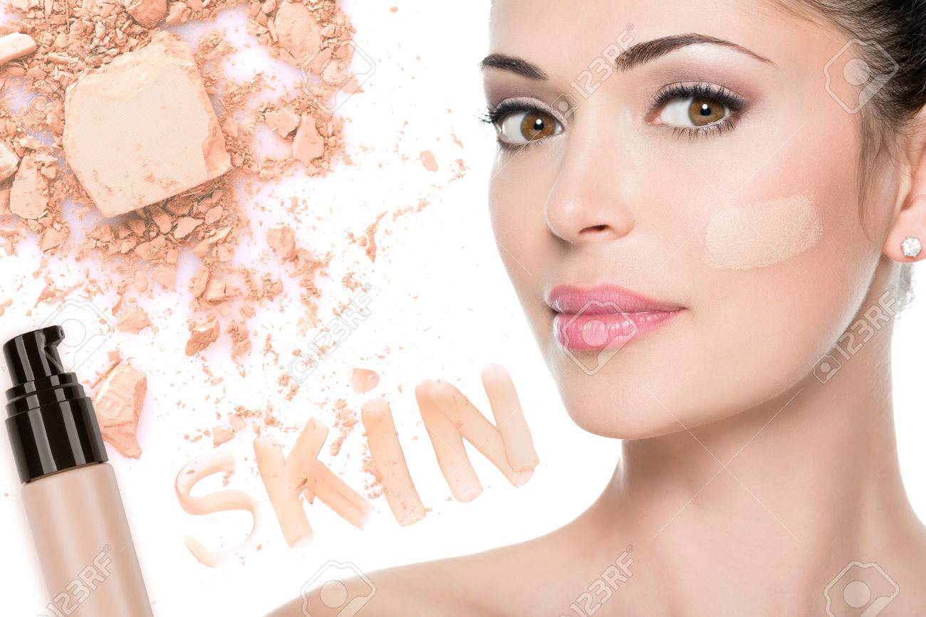 Model face of beautiful woman with foundation on skin make-up cosmetics . Stock Photo - 23271821