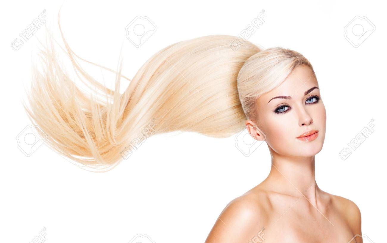 Beautiful woman with long white hair. Closeup portrait of a fashion model over white Stock Photo - 24246432