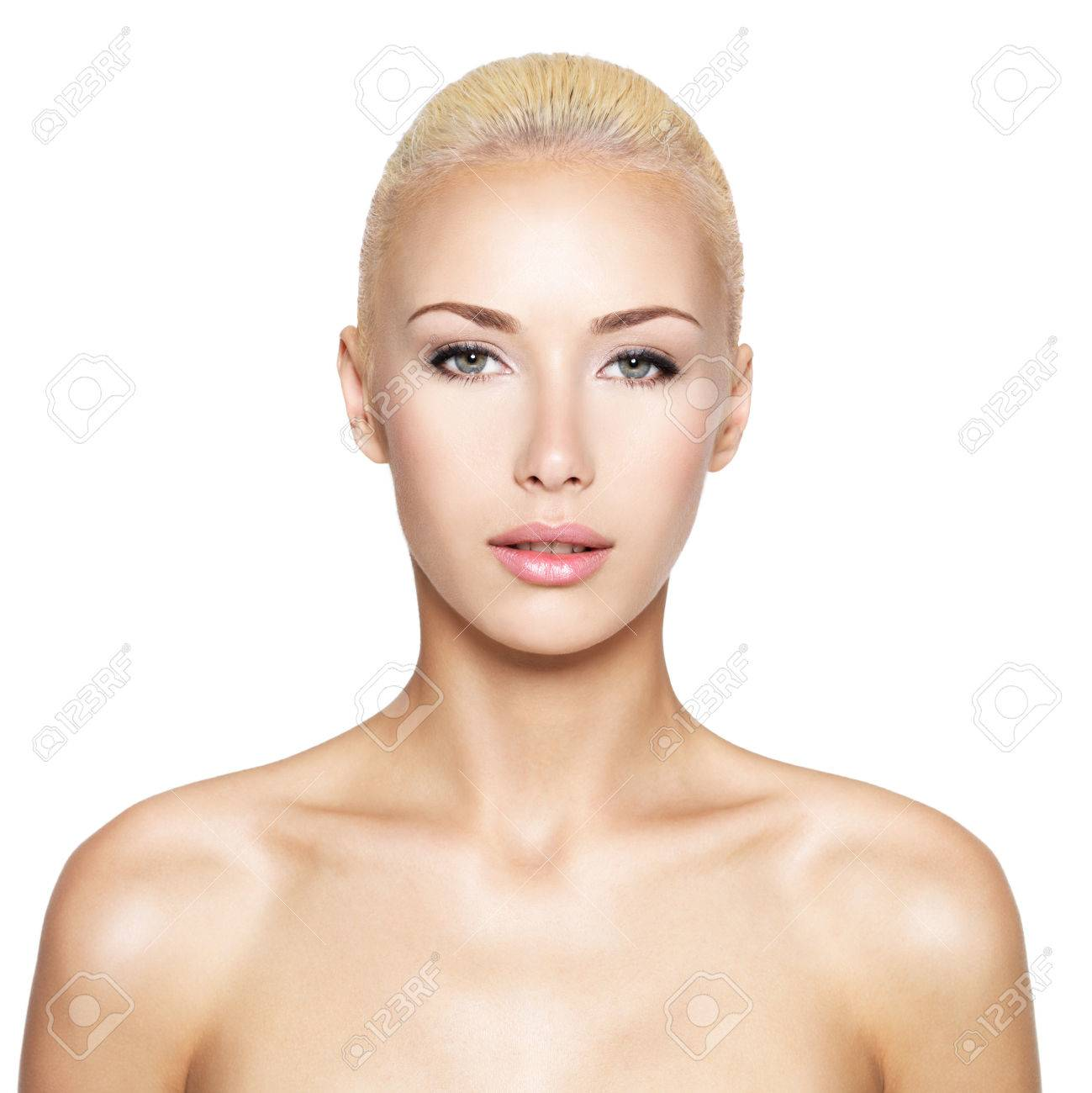Front portrait of the blond woman with beauty face - isolated Stock Photo - 24246431