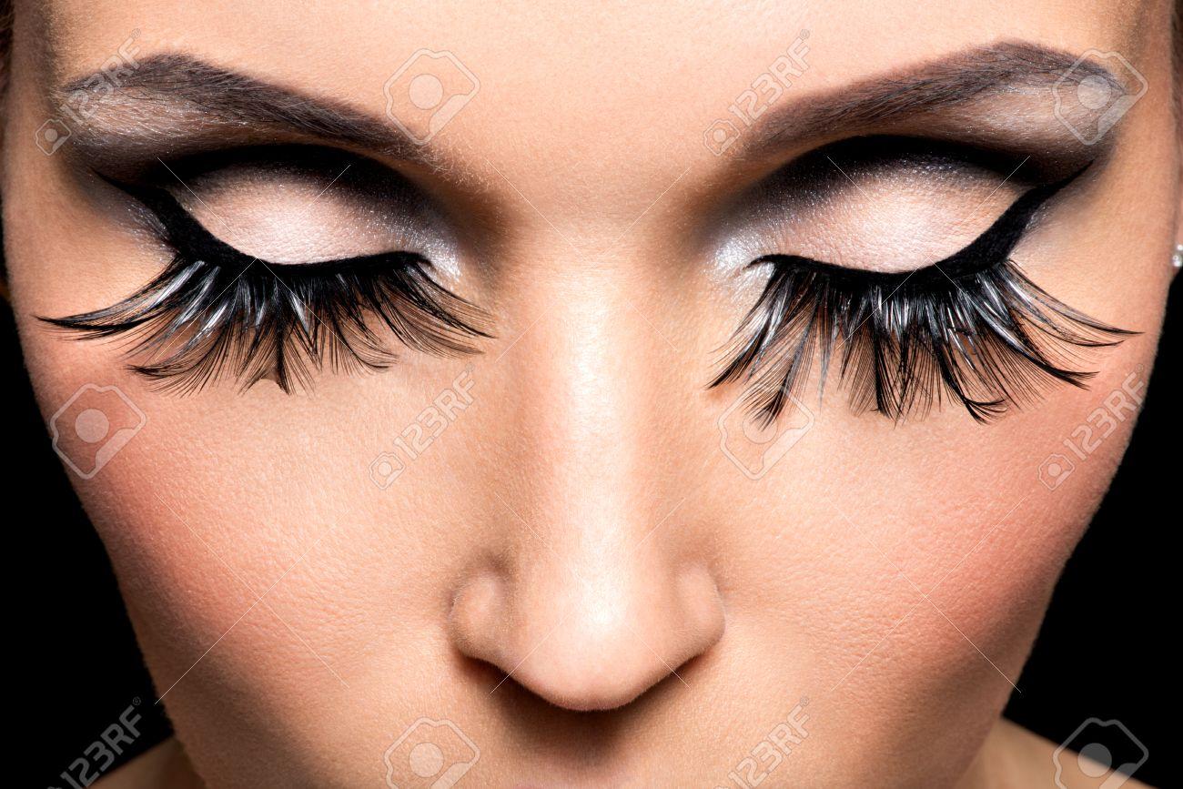 Beautiful Eye Makeup With Long False Eyelashes. Holiday Visage ...